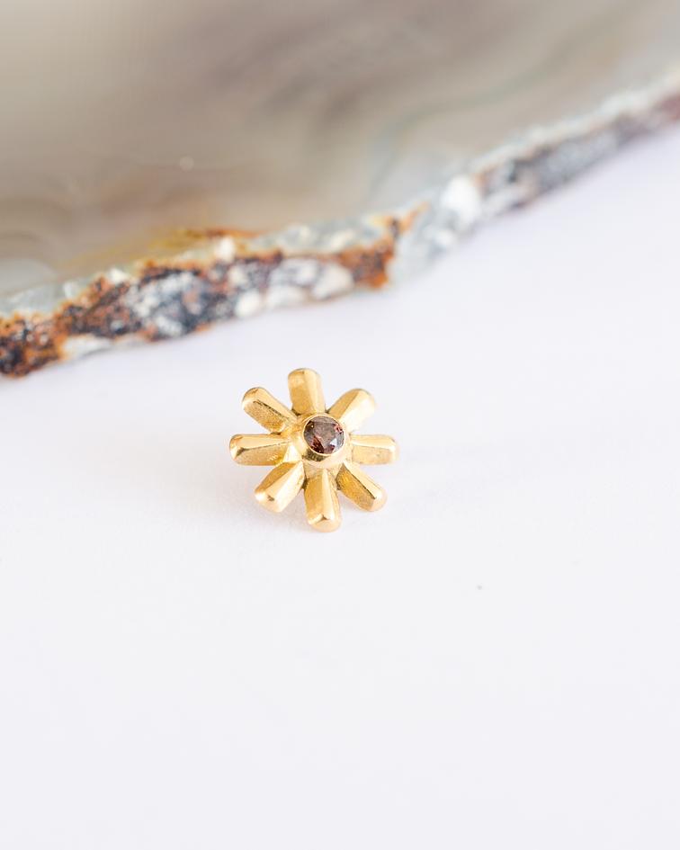 Cruz doble con gema en oro amarillo - 14g