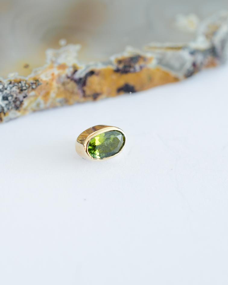 Turmalina verde ovalada chica en oro amarillo - 14g