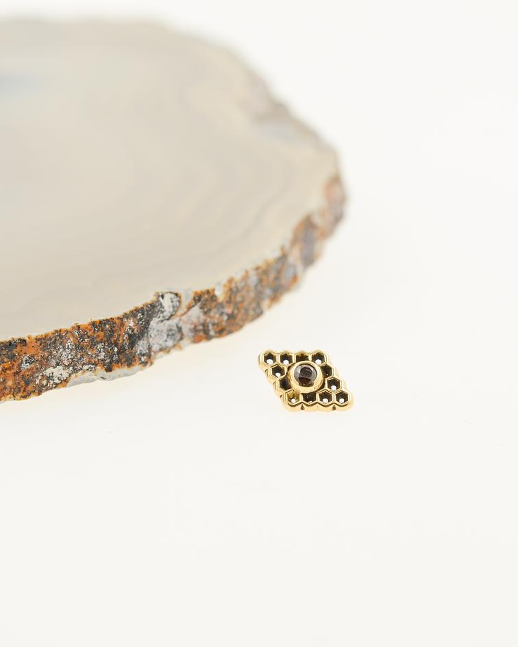 Panal rombo con gema en oro amarillo - 14g