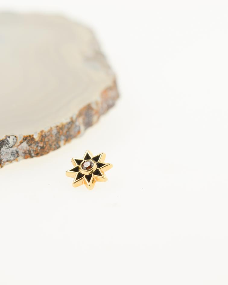 Sol de 4 caras con gema en oro amarillo - 14g