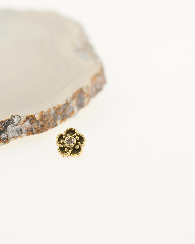 Flor con zirconia en oro amarillo - 16g