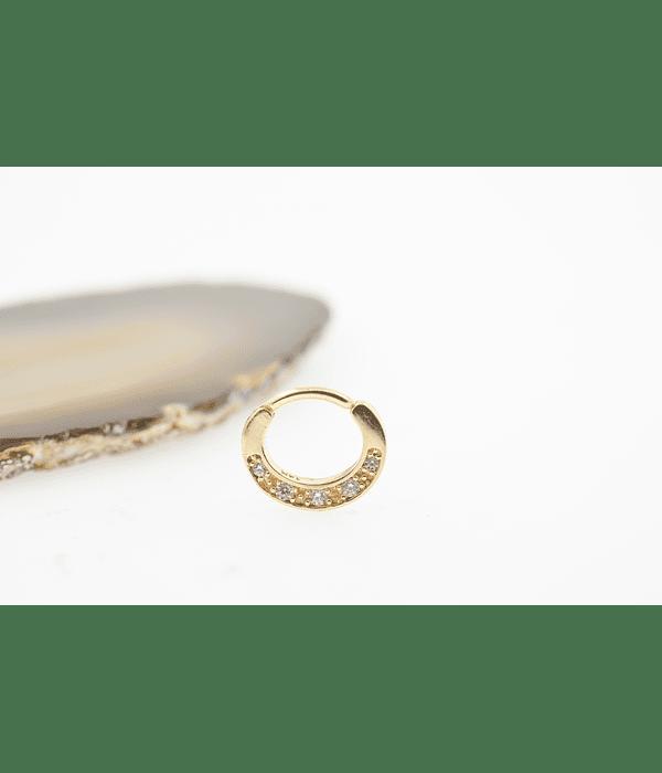 Clicker con 5 zirconias en oro