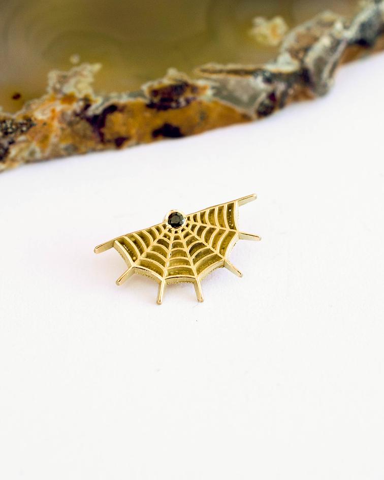 Spiderweb con cz en oro amarillo - 14g