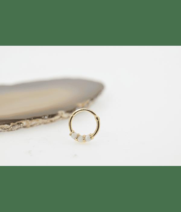 Segment ring oro amarillo triple gema