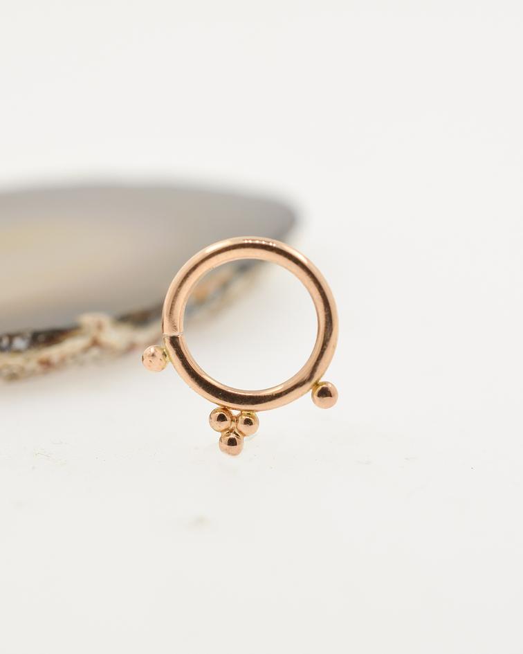 Pyramid bead ring de oro rosa - Scylla