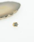 Corona con gema prong set en oro amarillo - Threadless o pin