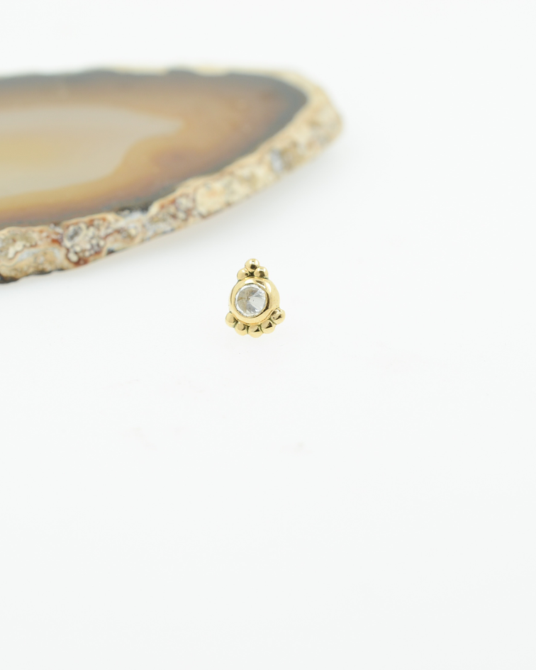 Pieza ornamental con zirconia cristal en oro amarillo - Threadless o pin