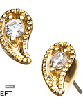 Gotita curvada milgrain con zircon en oro amarillo - Threadless o pin