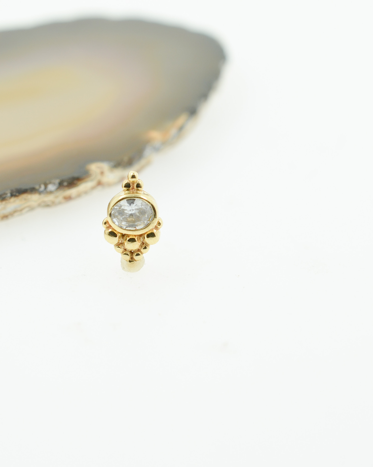 Ornamental con zirconia en oro amarillo - Threadless o pin
