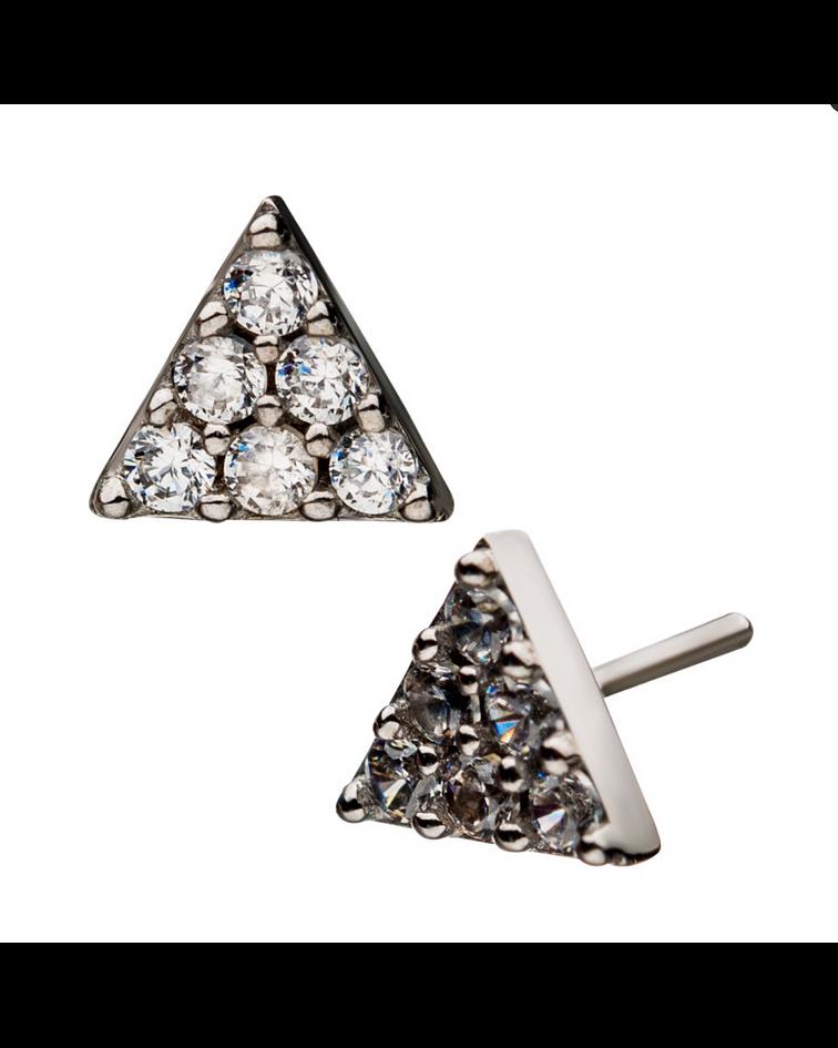 Pirámide con zirconias prong set de oro - Threadless o pin