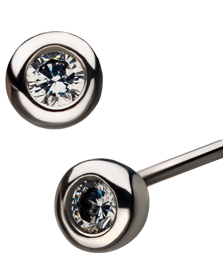 Zirconia cristal bezel set de oro blanco - Threadless o pin