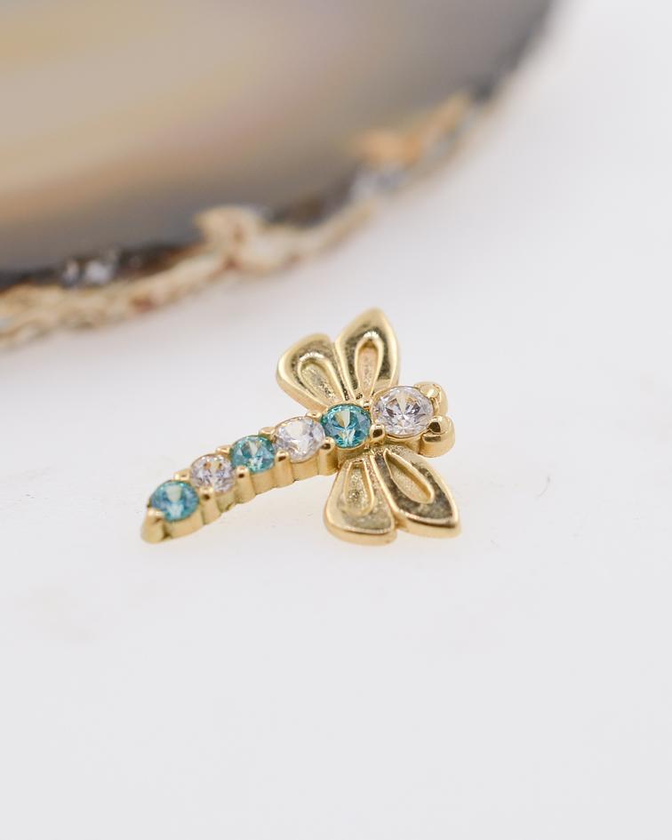 Dragonfly  con zirconias cristal y aqua de oro amarillo - 14g