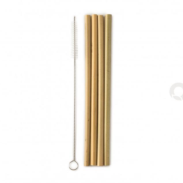 Conjunto Palhinhas de Bambu reutilizáveis