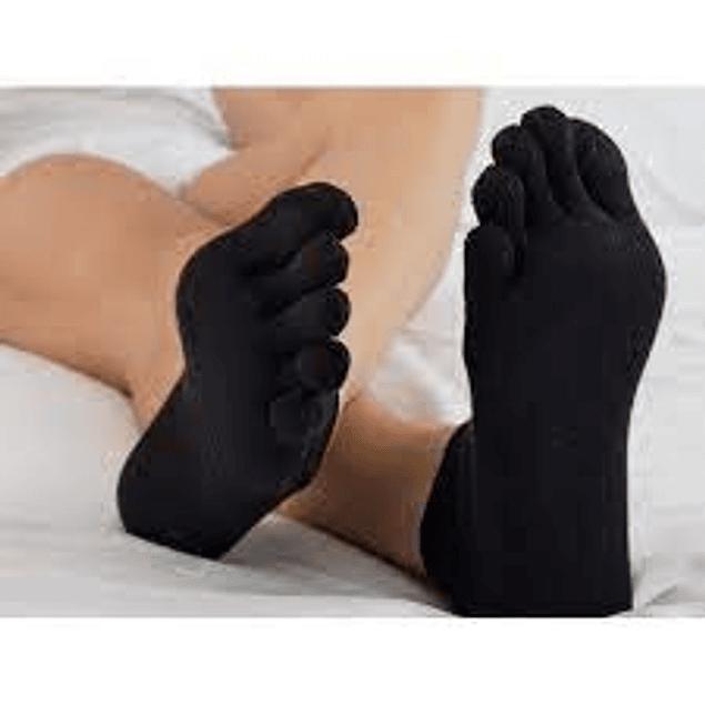 Meia de algodão até meio da perna com dedos e fibra de prata