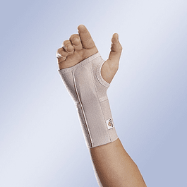 Open short elastic wrist with removable palmar flexible splint