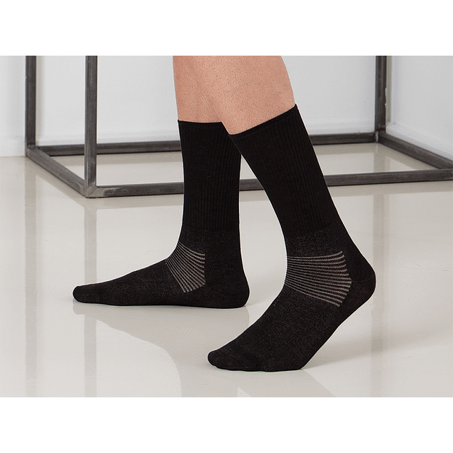 Meia até meio da perna de algodão com fibra de prata e base alcochoada