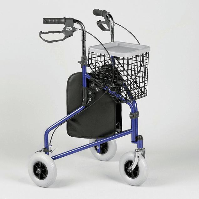 Andarilho com três rodas e sistema de travão