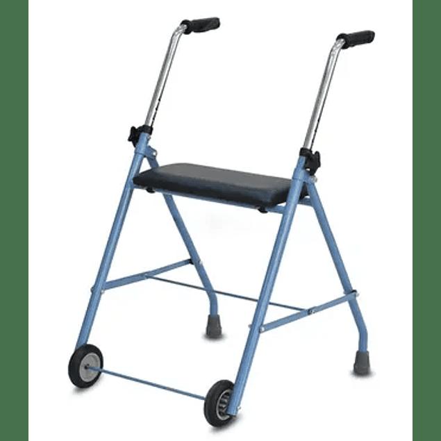 Andarilho com duas rodas e assento acolchoado