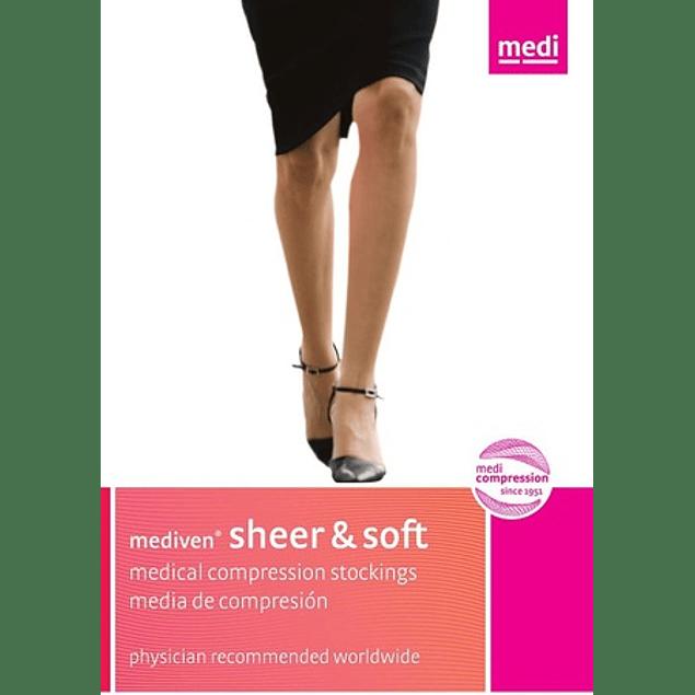 Meia Sheer & Soft AG até á raiz da coxa com banda de silicone e biqueira