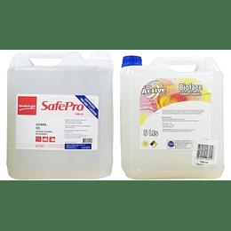 Alcohol Gel SafePro 5 Lts + Jabón Líquido BioFace 5 Lts