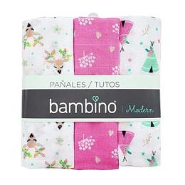Tutos/Pañales Bambino p/Bebé niña - 3 Unidades