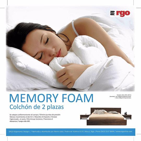 Colchón 2 Plazas Viscoelástico Ergo + 2 almohadas Ergo