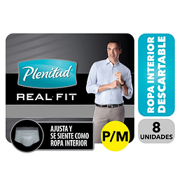 Plenitud Real Fit Ropa Interior Desechable p/Moderar Incont. P/M 8 Un – Hombre