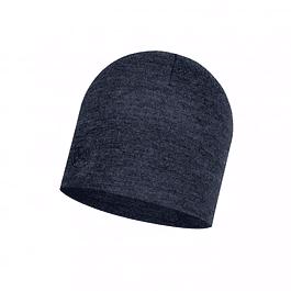 Midweight Merino Wool Hat Night Blue Melange