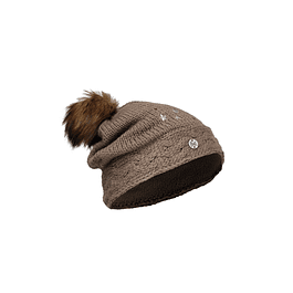 Junior Knitted & Polar Hat Darsy Brown Primaloft
