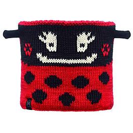 Junior Neckwarmer Knitted & Polar Fleece  Ladybug / Black