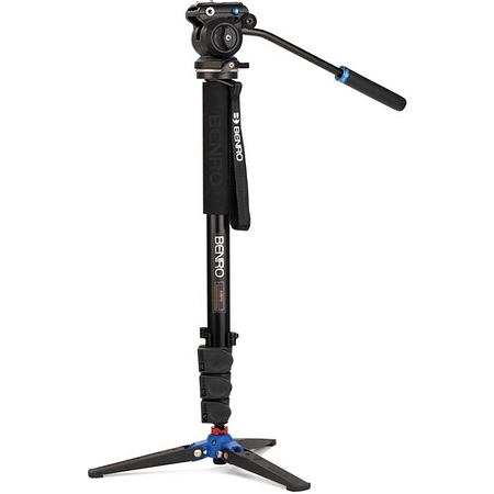 Monopie de video clásico Benro con cabezal de video fluido de base plana S2 Pro A38FDS2PRO