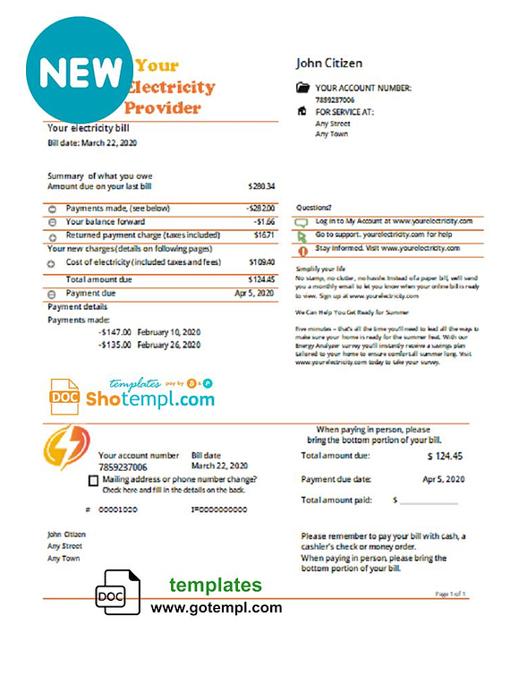# electric swell universal multipurpose utility bill template in Word format