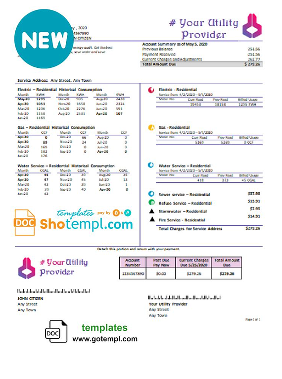 # own point universal multipurpose utility bill template in Word format