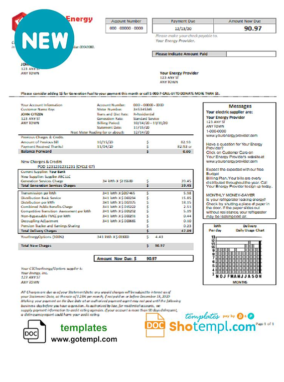 # red mineral universal multipurpose utility bill template in Word format