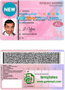 Albania driving license template in PSD format, with all fonts