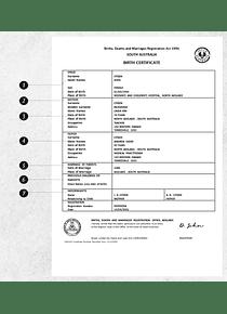 Australia South Australia birth certificate template in Word format, version 2