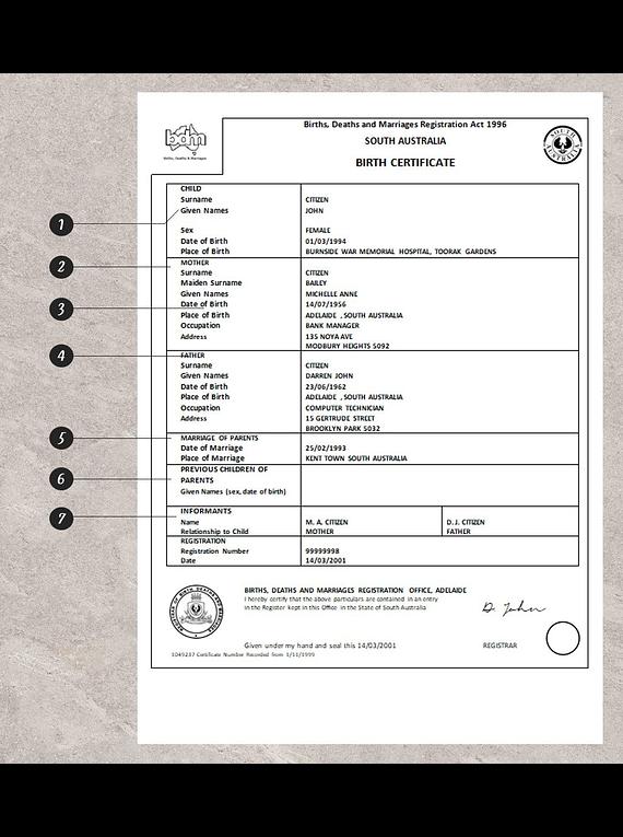 Australia South Australia birth certificate template in Word format, version 1