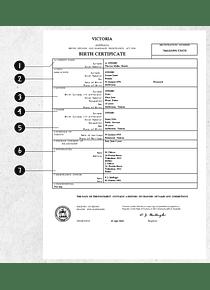 Australia Victoria birth certificate template in Word format, version 2