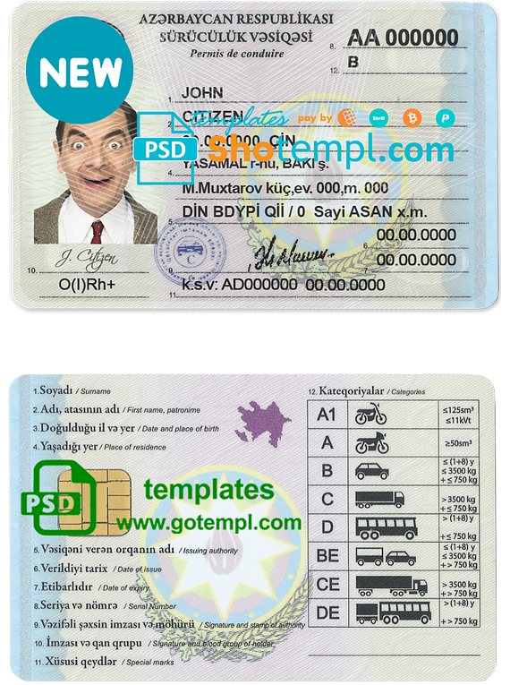Azerbaijan driving license template in PSD format, fully editable, with all fonts (new version)
