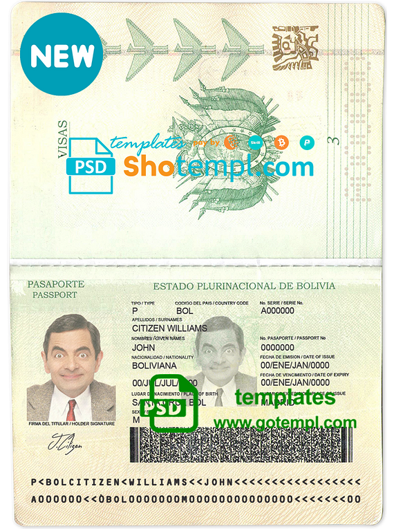 Bolivia passport template in PSD format, fully editable, with all fonts