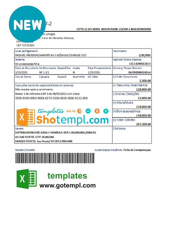 Brazil Bradesco bank proof of address statement template in Excel and PDF format