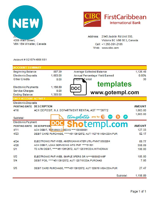 Canada CIBC Bank statement template in Word and PDF format (.doc and .pdf)