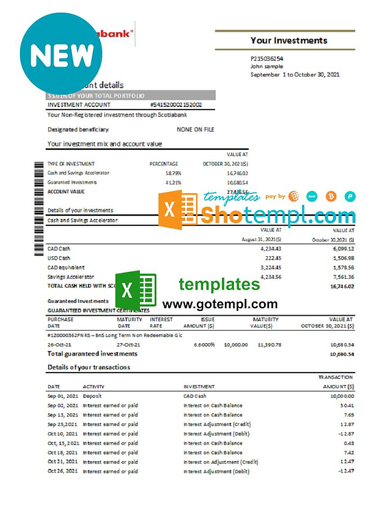 Chile Scotiabank bank statement easy to fill template in Excel and PDF format