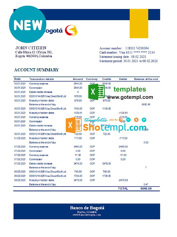 Colombia Banco de Bogotá bank statement easy to fill template in Excel and PDF format