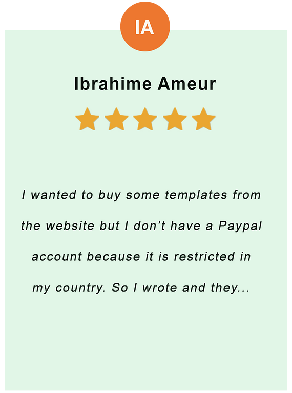 Ibrahime Ameur - feedback of our valued customer