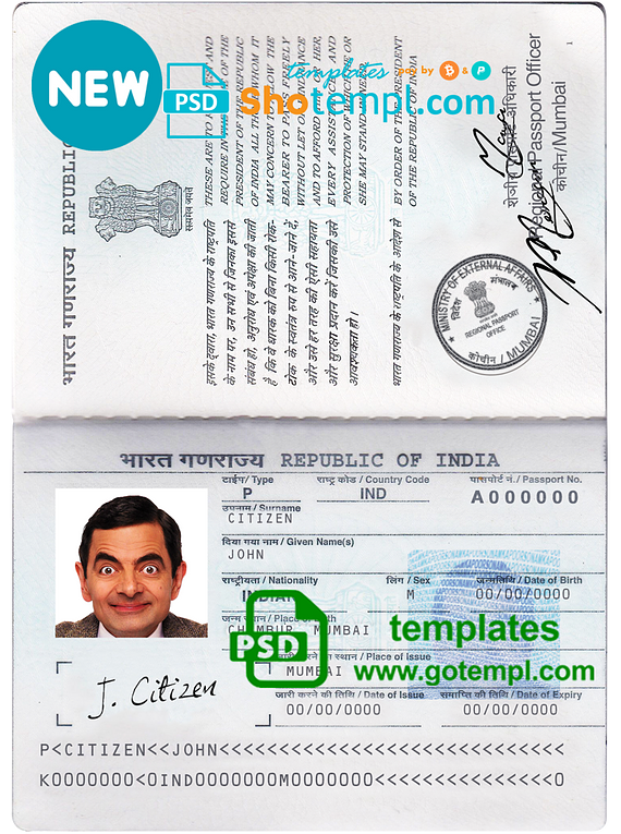 India passport template in PSD format, fully editable, with all fonts, new version (2013 - now)