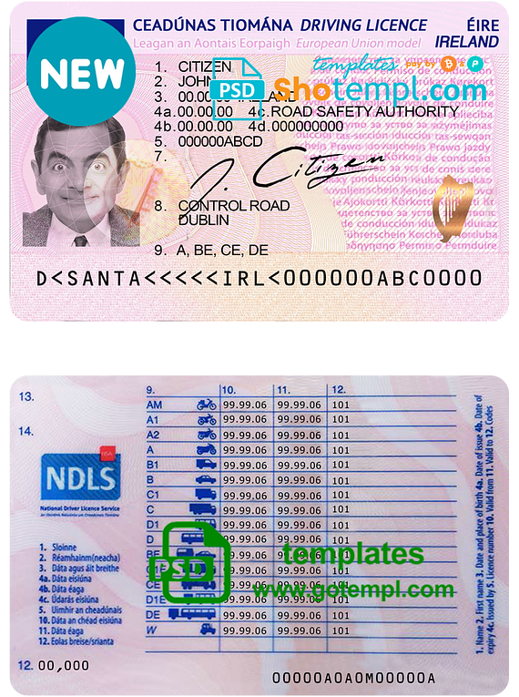 Ireland driving license template in PSD format, fully editable, with all fonts