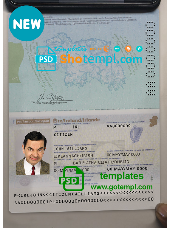 Ireland passport template in PSD format (+editable PSD photo look), fully editable, with all fonts