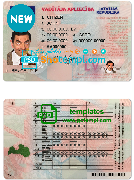 Latvia driving license template in PSD format, fully editable