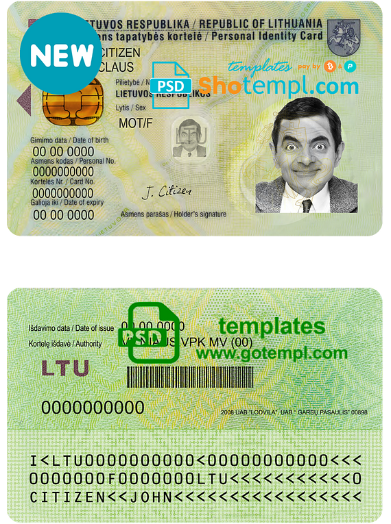 Lithuania ID template in PSD format, fully editable, with all fonts